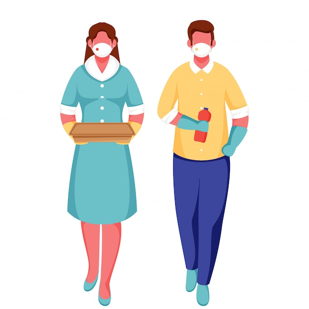 Mulher e homem dos desenhos animados usam máscara protetora, segurando o pacote com a garrafa no fundo branco para evitar o coronavírus.