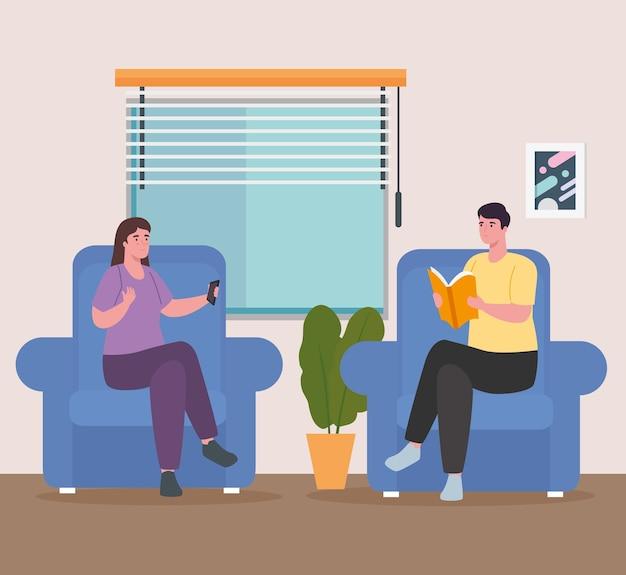 Mulher e homem em cadeiras em casa design de atividade e lazer