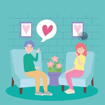 Mulher e homem em depressão de terapia virtual