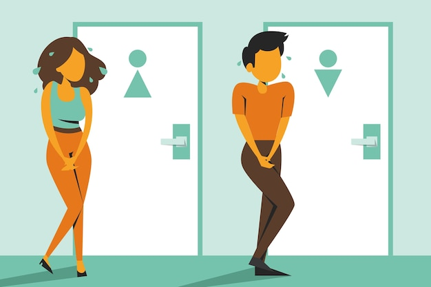 Mulher e homem em pé na porta do banheiro fechado e querem fazer xixi isolado. pessoa com a bexiga cheia, desespero e estresse.