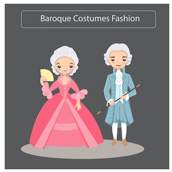 Mulher e homem em trajes barrocos moda