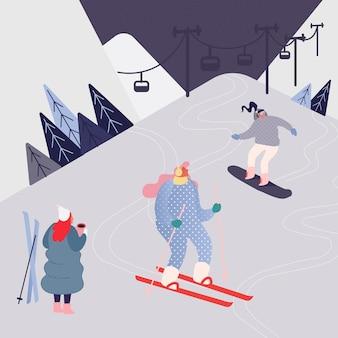 Mulher e homem esquiando nas montanhas. personagem de pessoas com esquis no fundo de paisagem de neve. lazer de inverno ao ar livre em resort, esportes radicais.