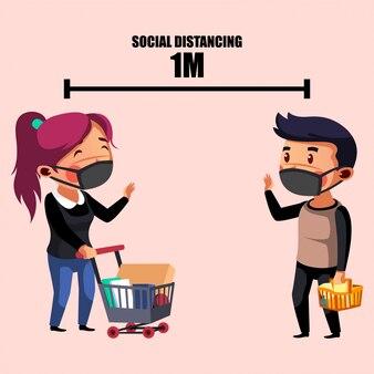Mulher e homem fazendo distanciamento físico durante as compras
