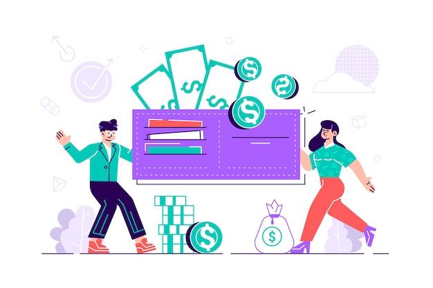 Mulher e homem feliz estão segurando uma carteira enorme com dinheiro e cartões de crédito. orçamento familiar e conceito de finanças. economias e investimentos em casa. ilustração moderna do deisng do estilo liso no branco.