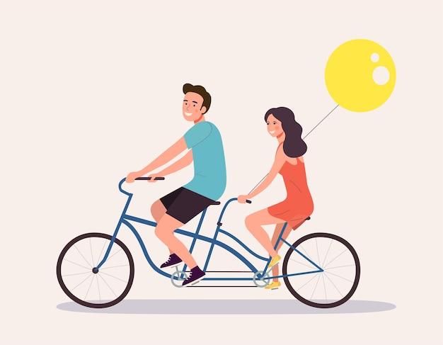 Mulher e homem felizes andando de bicicleta tandem isolados