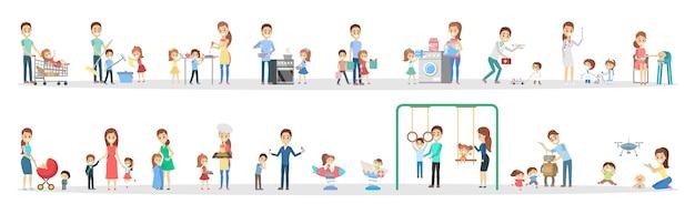 Mulher e homem limpar a casa e fazer um trabalho doméstico com conjunto de crianças. a dona de casa fazendo a rotina doméstica diária e as crianças a ajudam. ilustração em vetor plana isolada