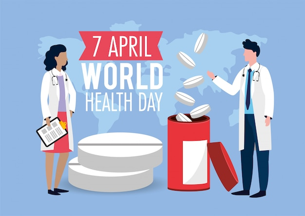 Mulher e homem médicos para o dia da saúde