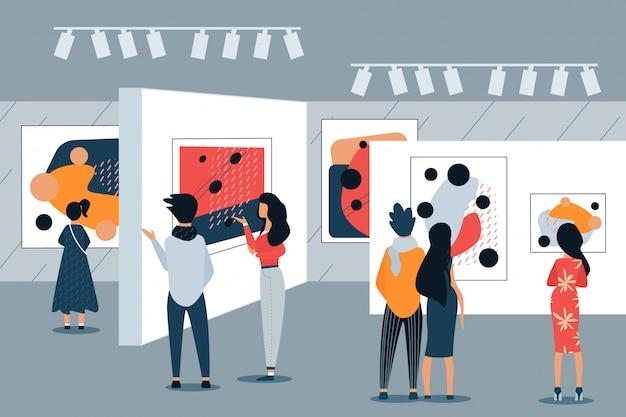 Mulher e homem na pintura de exibição de galeria de arte. vetor