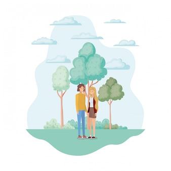 Mulher e homem no parque