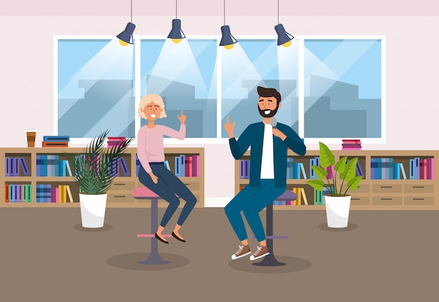 Mulher e homem repórter no estúdio com luzes e plantas