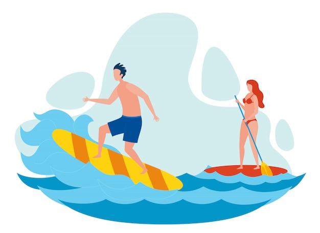 Mulher e homem surfando ilustração vetorial plana