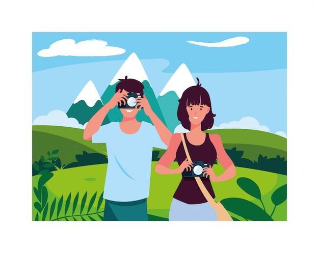 Mulher e homem tirando foto