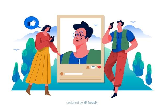Mulher e homem tirando fotos e publicando-as na internet