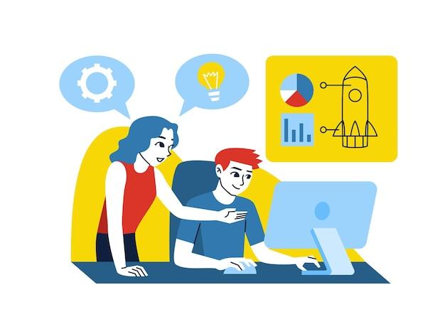 Mulher e homem trabalhando no computador