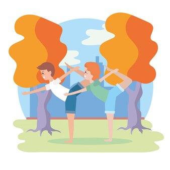 Mulher, e, homem, treinamento, ioga posa