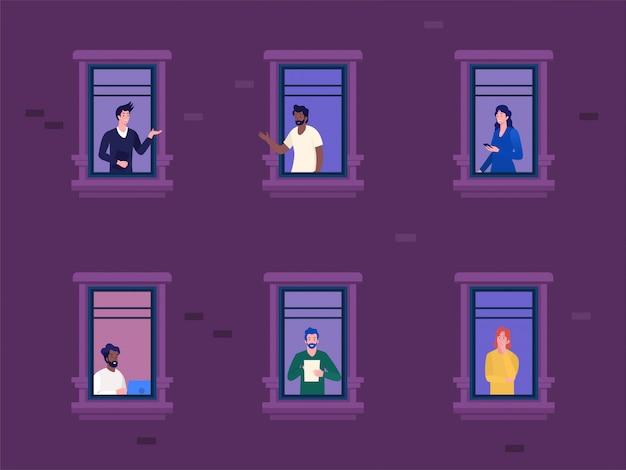 Mulher e homens trabalhando em casa durante o conceito de ilustração vetorial covid 19 surto, distanciamento social para evitar o vírus corona, atividade de pessoas em apartamento outro, pode usar para, página inicial, banner