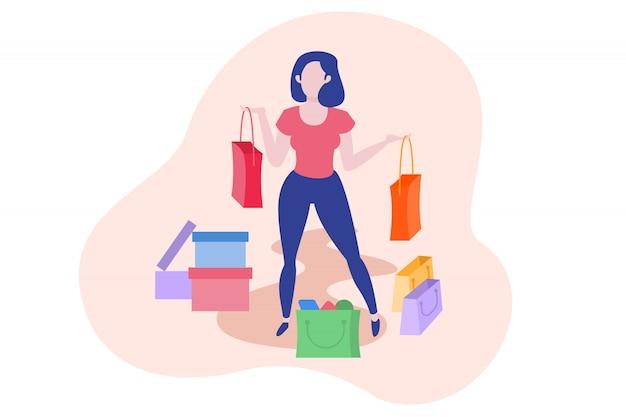 Mulher e ilustração do conceito de compras