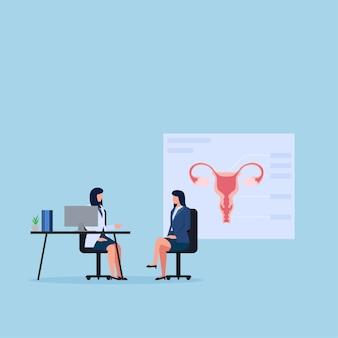 Mulher e médico conversam sobre ginecologia.