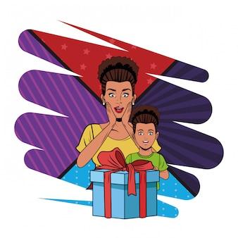 Mulher e menina com caixa de presente pop art