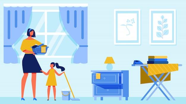 Mulher e menina limpa apartamento.