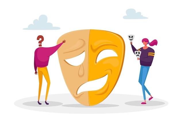 Mulher e personagem sem rosto em pé perto de uma enorme máscara separados por emoções opostas