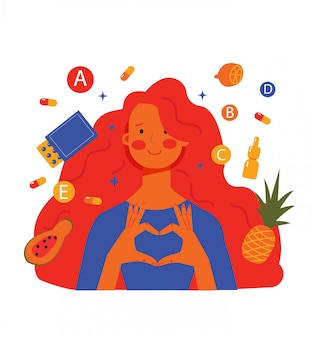 Mulher e produtos para nutrição saudável, garota toma pílulas de vitamina para a pele e cabelos, equilíbrio vitamínico. ilustração isolado no fundo branco.