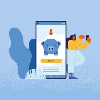 Mulher e smartphone com porquinho de pagamentos online
