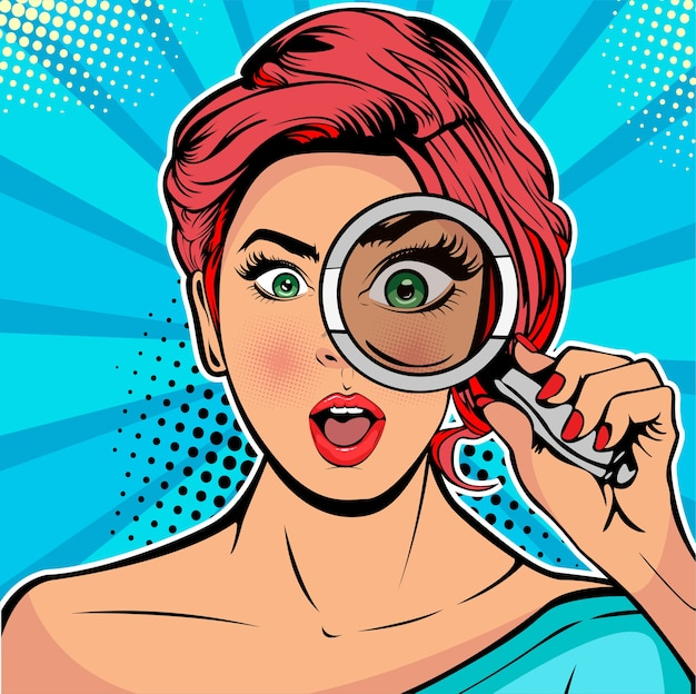 Mulher é um detetive olhando através de lupa