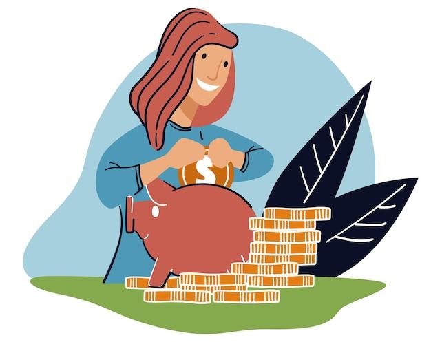 Mulher economizando dinheiro colocando no vetor do cofrinho
