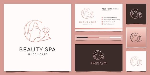 Mulher elegante cabeleireiro, design de logotipo de spa e flores e cartão de visita