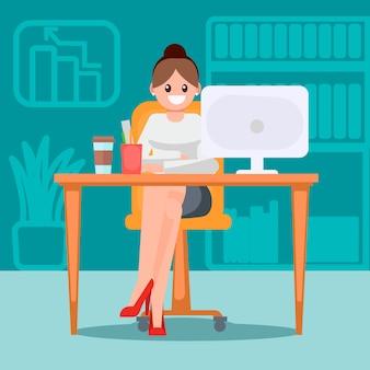 Mulher, em, a, escritório, à mesa