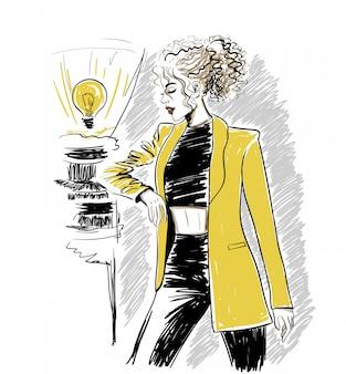 Mulher, em, amarela, casaco, com, cabelo ondulado