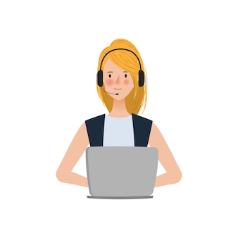 Mulher em call center ou atendimento ao cliente, trabalhando com um laptop
