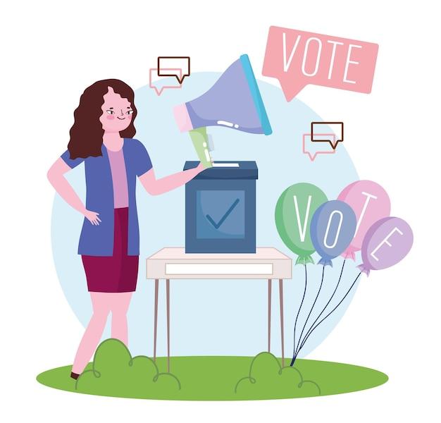 Mulher em campanha eleitoral votando em ilustração de candidato