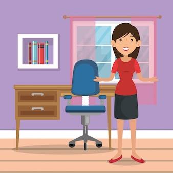 Mulher em casa escritório lugar casa