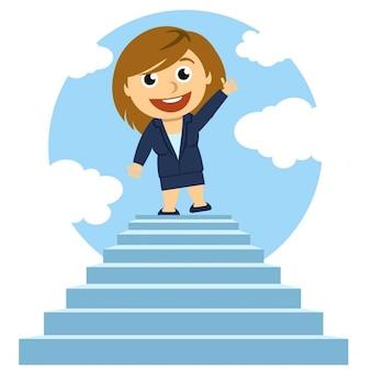 Mulher em cima de uma escada