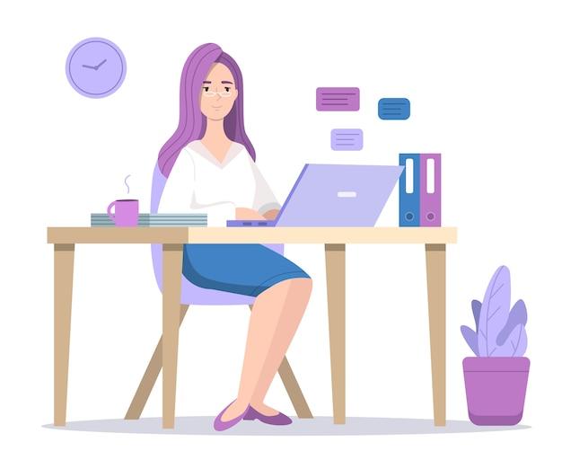 Mulher, em, computador, ilustração