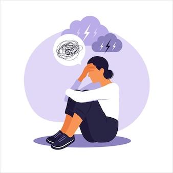 Mulher em depressão com pensamentos confusos em sua mente.