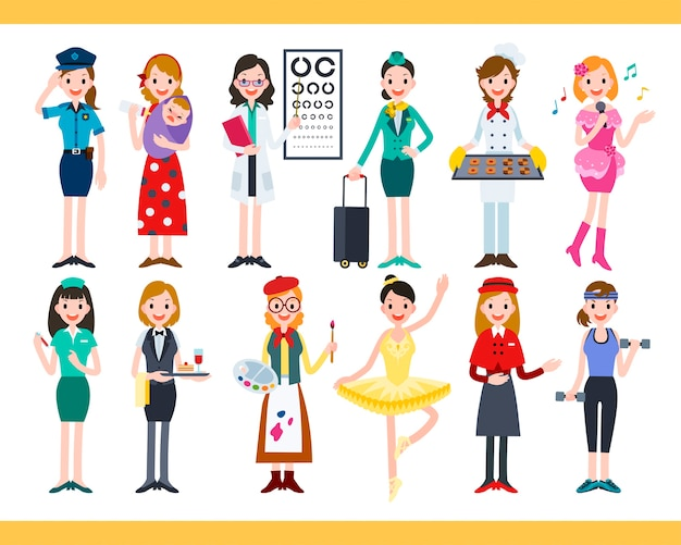 Mulher em diferentes carreiras, coleção de lindos empregos diversos em