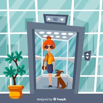 Mulher, em, elevador, com, dela, cão