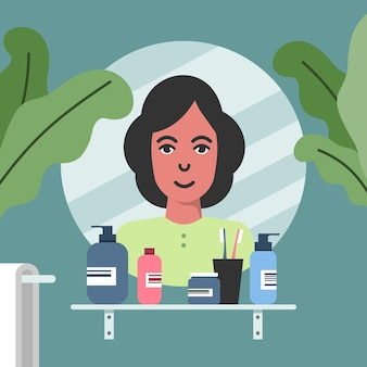 Mulher em frente ao espelho na ilustração vetorial do banheiro cuidados de beleza mulher sorridente olhando