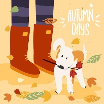 Mulher em gumboots brincando com o cachorro no outono e rotulando dias de outono. a ilustração é para o seu cartão, cartaz, folheto. Vetor Premium