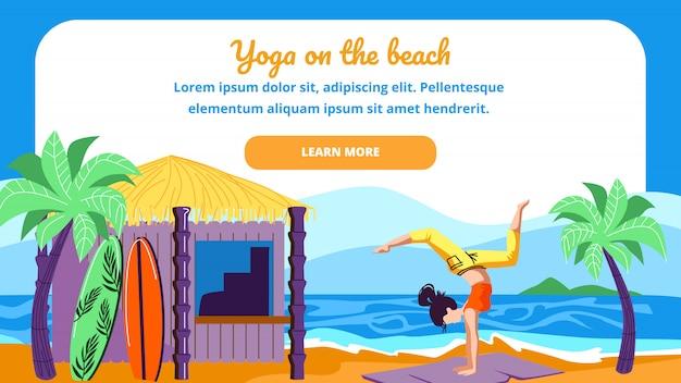 Mulher, em, ioga, asana pose, de, escorpião, ligado, praia mar