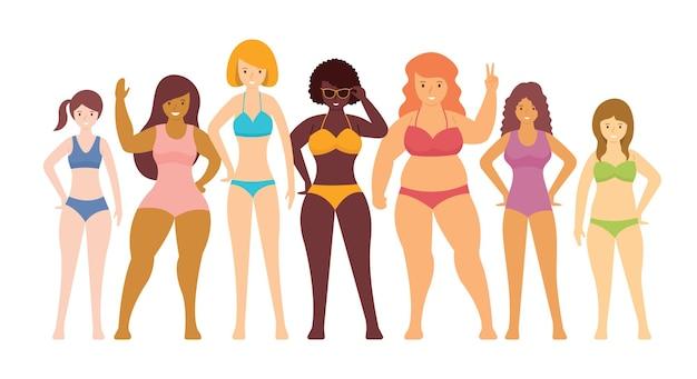 Mulher em maiôs vários tipos de formas corporais