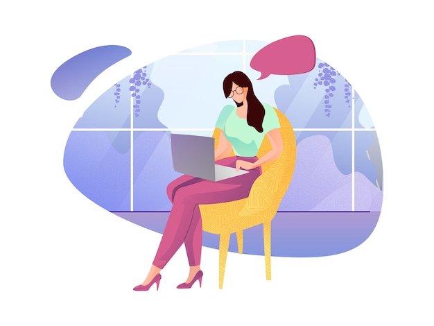 Mulher, em, óculos, trabalhando, em, estufa, caricatura