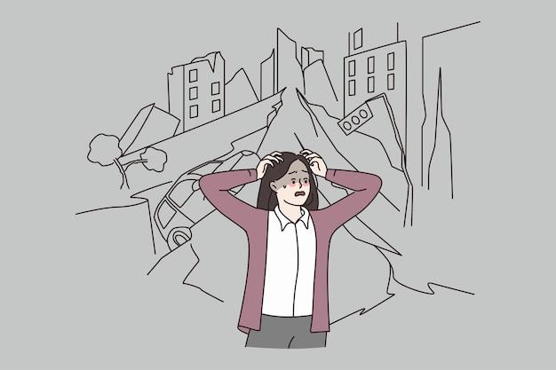 Mulher em pânico por causa do terremoto na cidade