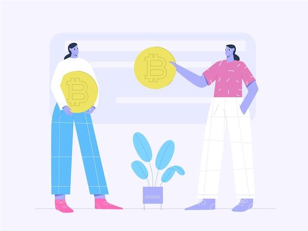 Mulher em pé e segurando uma moeda bitcoin para ilustração plana de investimento