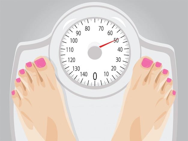 Mulher em pé em uma escala para perda de peso