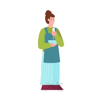 Mulher em pé misturando comida em uma tigela de ilustração vetorial plana dos desenhos animados isolada