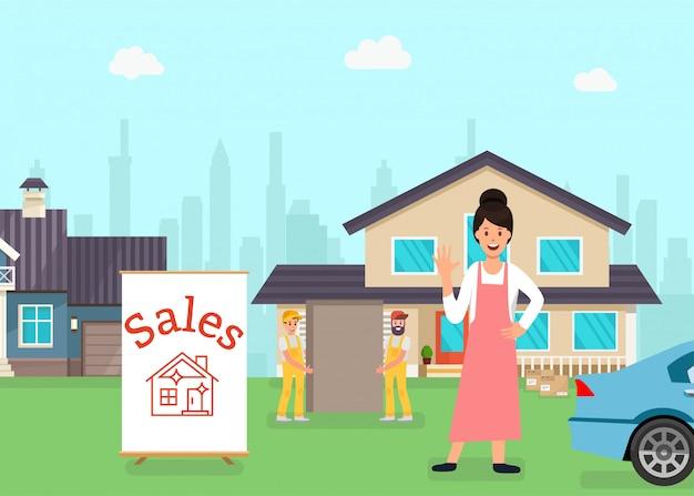Mulher em pé na frente da casa à venda, trabalhadores
